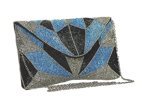 2c80ae802 Sitara Bolso Sobre Azul-Negro: Amazon.es: Zapatos y complementos