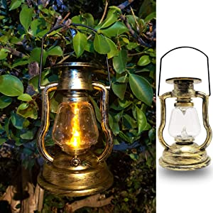 X-PREK Solar Vintage Lamp Outdoor Hanging, Retro Solar Oil Lantern with Realistic Flashing Flame Waterproof Festival Light Decor for Garden Patio Home Party Tabletop (Golden)