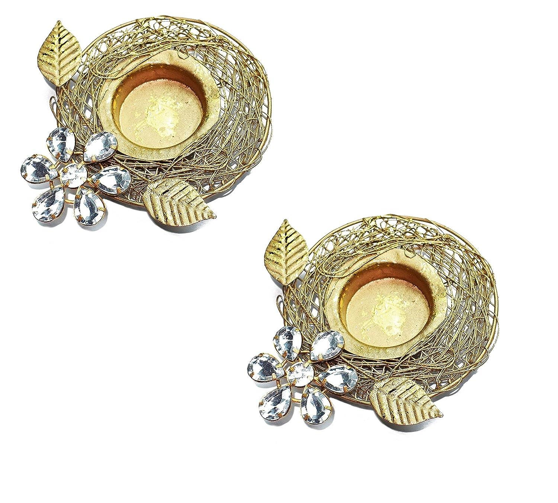 Set of 2 pc Diwali Gift/Decoration Beautiful Diwali Diya/Metal Diya with white stones in Random Foil Paint. Deepawali Diya/Oil Lamp/Tea Light Holder/Diwali Decoration/Christmas Decoration … Crafts'man