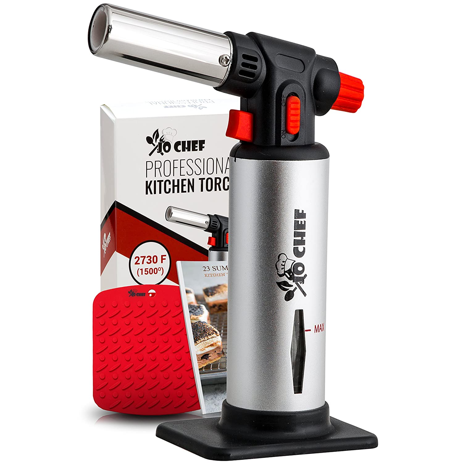 Jo Chef Professional Kitchen Torch – Aluminum Refillable Crème Brulee Blow Torch – Safety Lock & Adjustable Flame + Fuel gauge – for Cooking, Baking, BBQ – FREE Heat Resistant Place Mat + Recipe eBook .