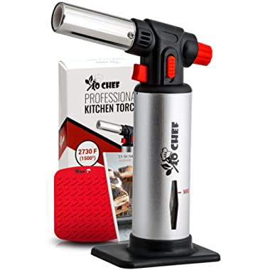 Jo Chef Kitchen Torch, Blow Torch - Refillable Butane Torch With Adjustable Flame - Culinary Torch, Creme Brûlée Torch For Cooking Food, Baking, BBQ & More + FREE Recipe eBook (With Fuel Gauge)
