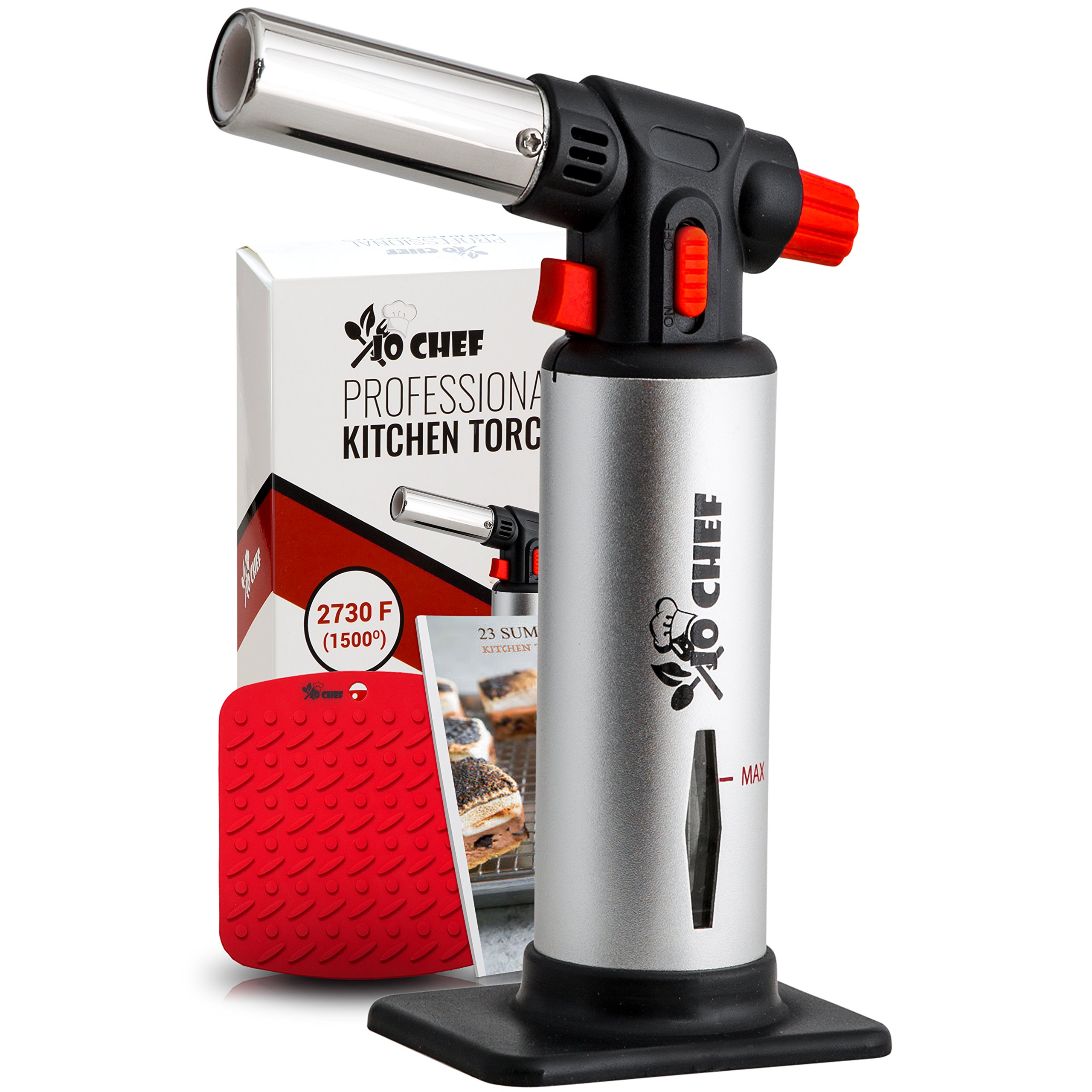 Jo Chef Professional Kitchen Torch – Aluminum Refillable Crème Brulee Blow Torch – Safety Lock & Adjustable Flame + Fuel gauge – for Cooking, Baking, BBQ – FREE Heat Resistant Place Mat + Recipe eBook