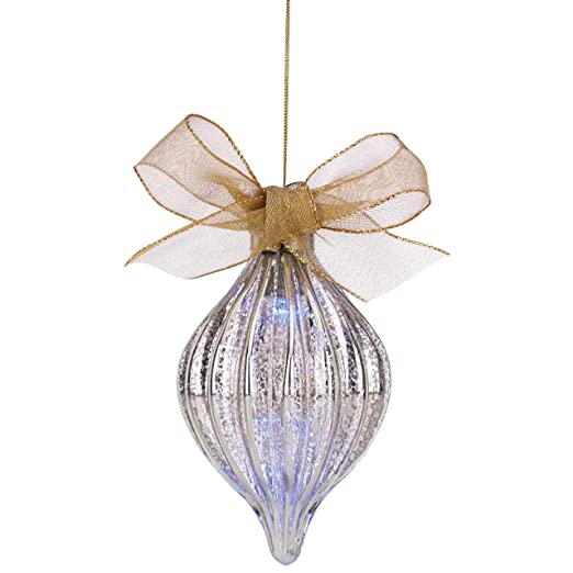 Christmas Tablescape Decor - Lenox Teardrop Shaped Mercury Glass Hanging Christmas Ornament