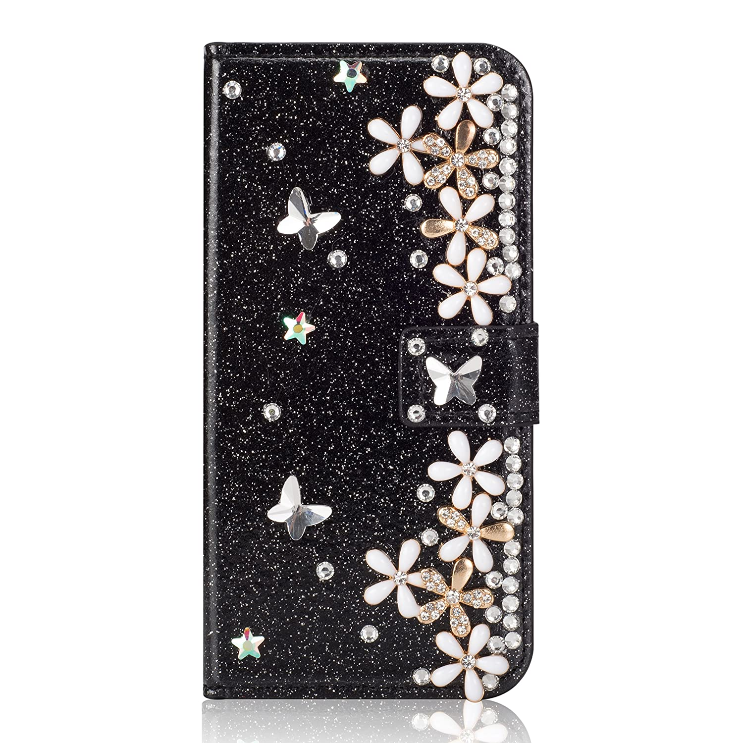 Case Galaxy S9 Plus, Misteem Luxury Clear Rhinestone Diamond Glitter Sparkle Flowers 3D Pattern Bookstyle Flip Leather Shell Wallet with Function Support Card Slots Magnetic Closure Protective Cover Samsung Galaxy S9 Plus [Floral Pink]