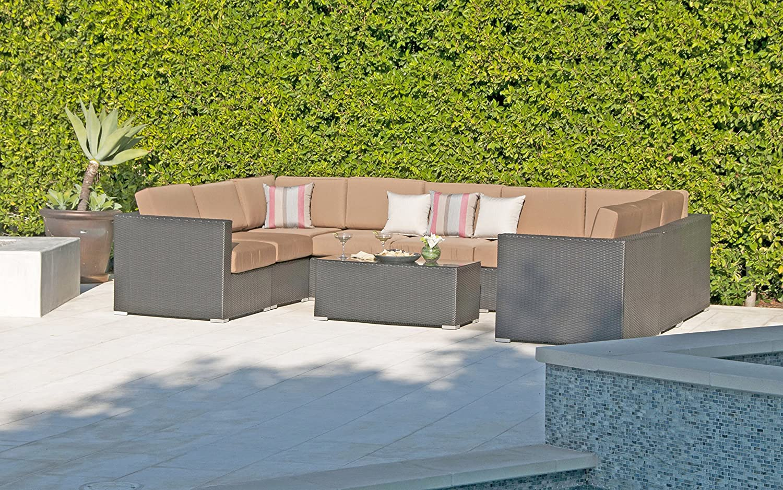 Amazon com willow creek designs wc 109 5491 10 piece sonoma wicker outdoor sectional sofa canvas dusk garden outdoor