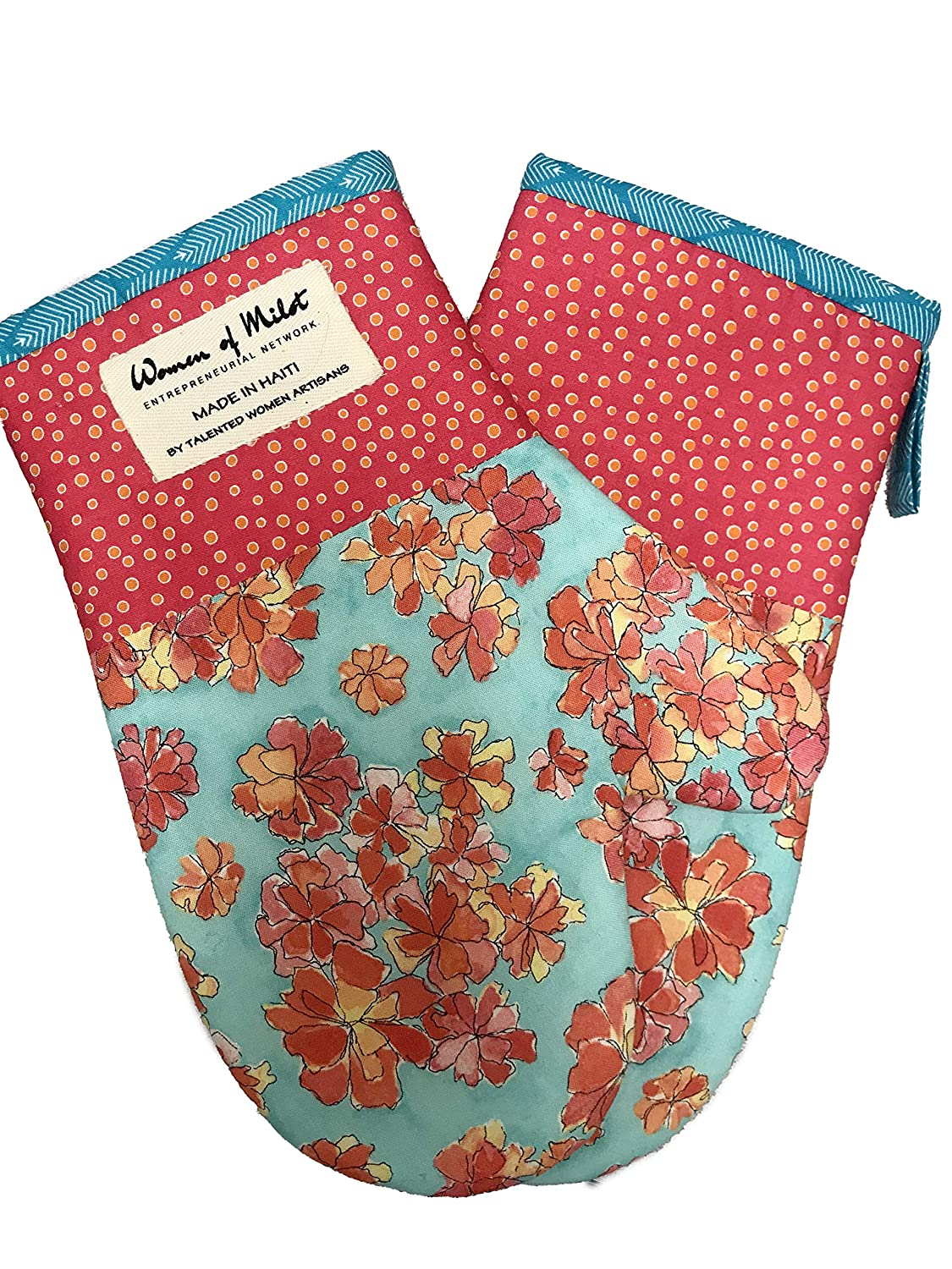 Griselda Oven Mitt Set of 2 - Teal and Orange Color Tones with Floral Patterns - Hand Made Fair Trade from Haiti