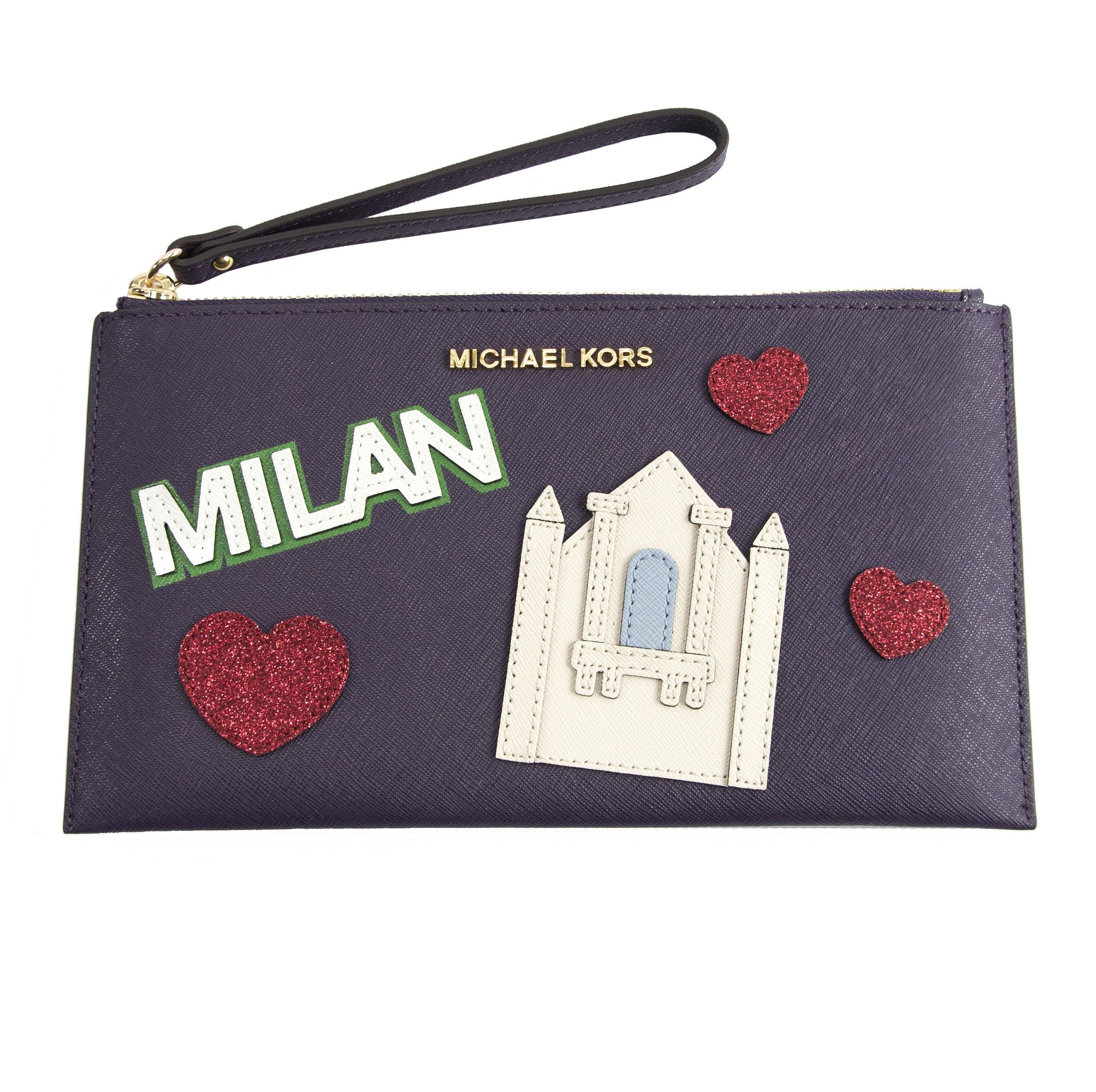Michael Kors Nouveau Novelty Milan Purple Saffiano Leather Large Clutch Wristlet Bag by MICHAEL Michael Kors