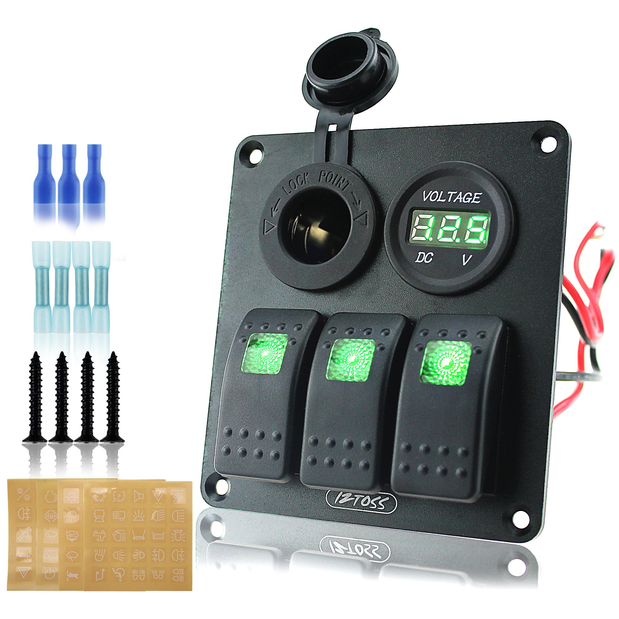 Ambuker 3 gang rocker switch panel with power socket 3.1A and voltmeter wiring kits and Decal Sticker Labels DC12V/24V for Marine Boat Car Rv Vehicles Truck by Ambuker