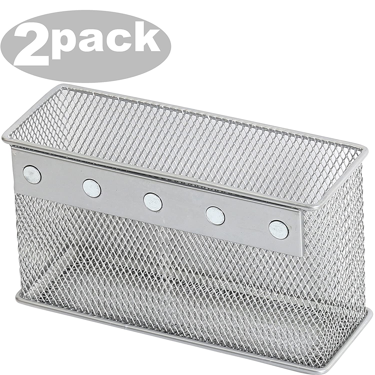 Ybmhome Wire Mesh Magnetic Storage Basket, Container, Desk Tray, Office Supply Accessory Organizer Silver for Refrigerator/Microwave Oven or Magnetic Surface in Kitchen or Office 2305-2(2, Large)
