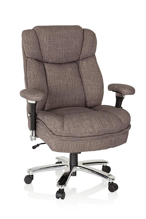 hjh OFFICE 750010 silla de oficina BUILDER XXL tejido gris silla alta resistencia hasta 180 kg