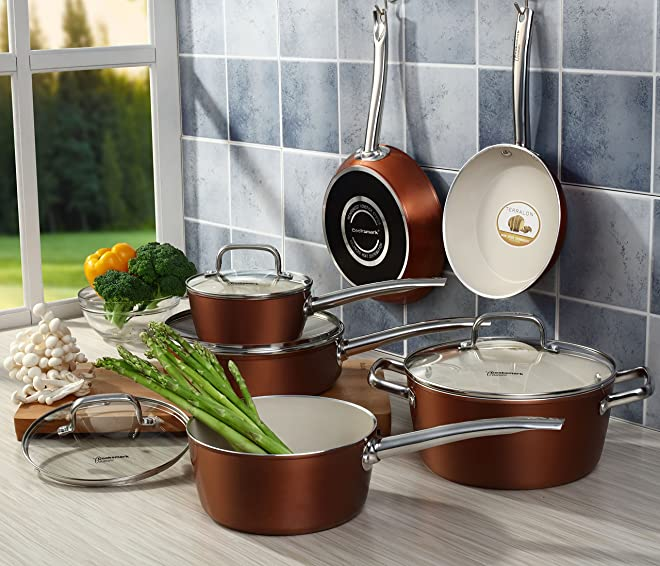 Cooksmark® Ceranano Dishwasher Safe 10-piece Copper Finish Ceramic Nonstick Cookware Set, Oven Safe