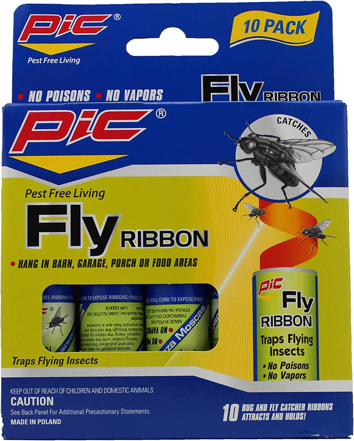 Pic FR10B Sticky Fly Ribbons, 10-Pack : Home Pest Control Traps : Garden & Outdoor
