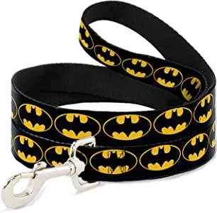 "Buckle Down Pet Leash - Bat Signal-2 Black/Yellow/Black - 6 Feet Long - 1"" Wide"