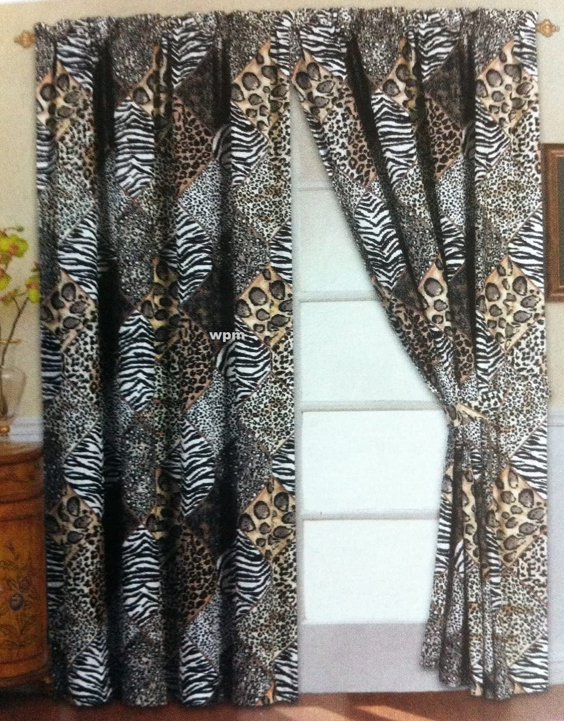 4 Piece Curtain Set: 2 Jungle Safari Black White Giraffe Zebra Panels & 2 Tie Backs