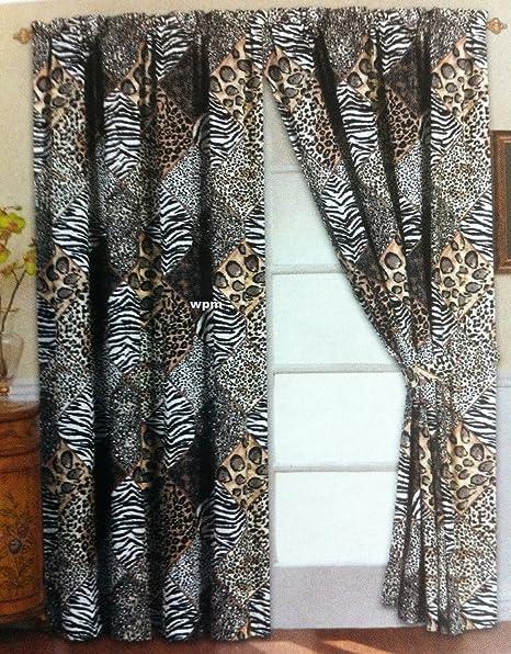 2 Jungle Safari Brown Giraffe Zebra Panels /& 2 Tie Backs 4 Piece Curtain Set