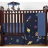 Sweet Jojo Designs Space Galaxy Rocket Ship, Planet, Galactic 4 Piece Baby Boy Girl Bedding Crib Set Without Bumper