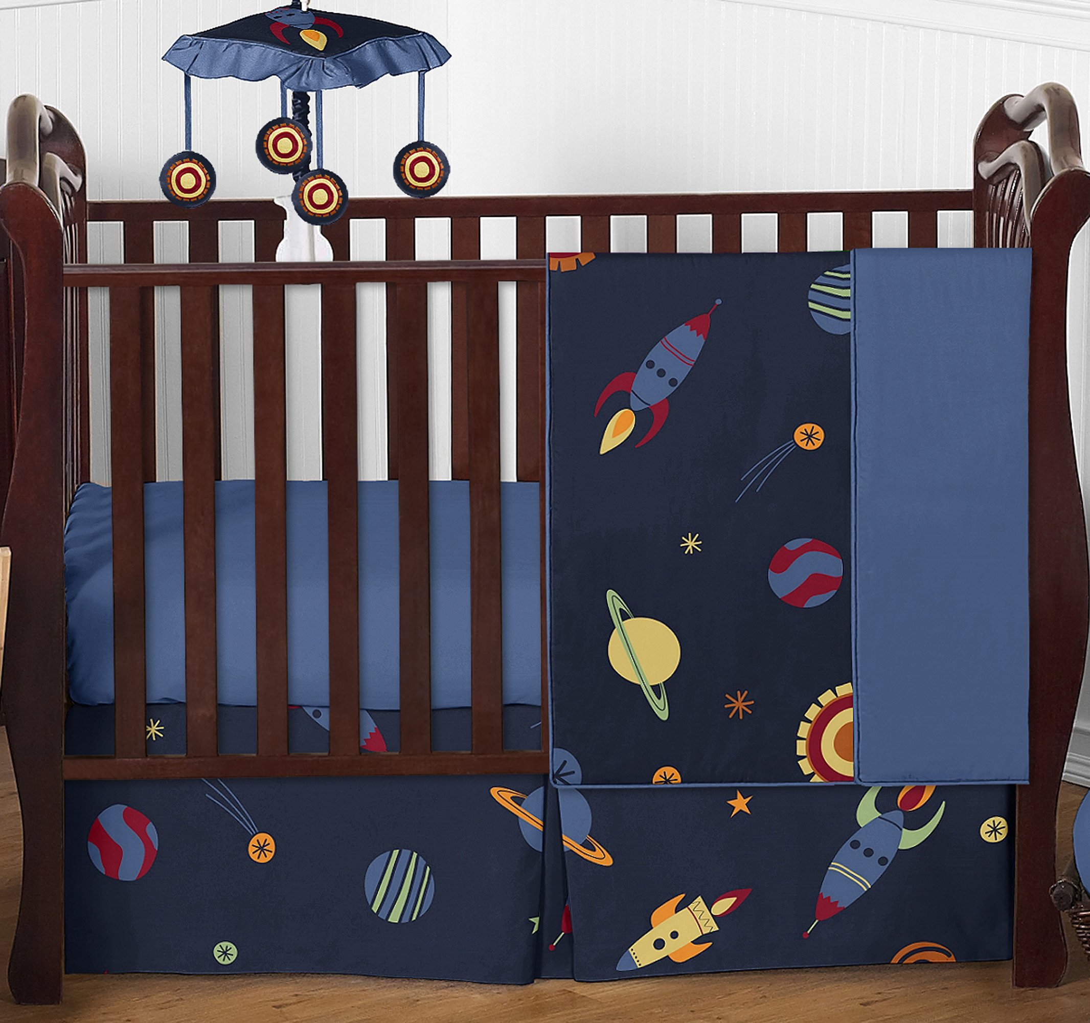 Sweet Jojo Designs Space Galaxy Rocket Ship, Planet, Galactic 4 Piece Baby Boy Girl Bedding Crib Set Without Bumper by Sweet Jojo Designs