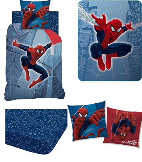 Set 5 pieces Funda de edredón Spiderman DH + cojín ...