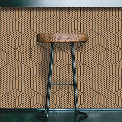 Roommates Gold And Black Stripped Hexagon Peel And Stick Wallpaper