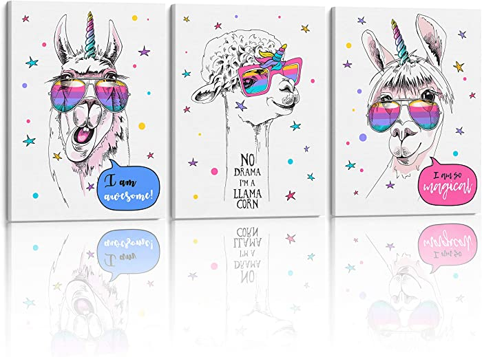Something Unicorn - Stretched/Framed, Ready to Hang Canvas Wall Art for Girl's Bedroom. Super Cute Water Color Unicorn Prints for Girls Bedroom Decor. Set of 3. 12x16in - Llamacorn