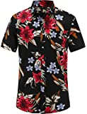 JEETOO Mens Hawaiian Shirt Short Sleeve Floral Shirts