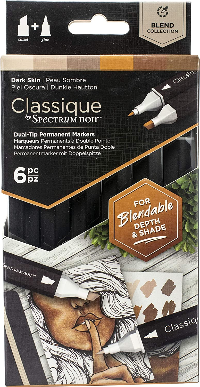 Spectrum Noir Classique Blend Alcohol Marker Dual Nib Pens Set-Dark Skin-Pack of 6