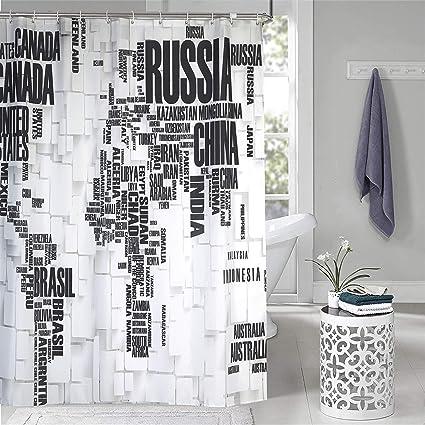 Amazon Com Dolii World Map Shower Curtain Text Print Bathroom Decor