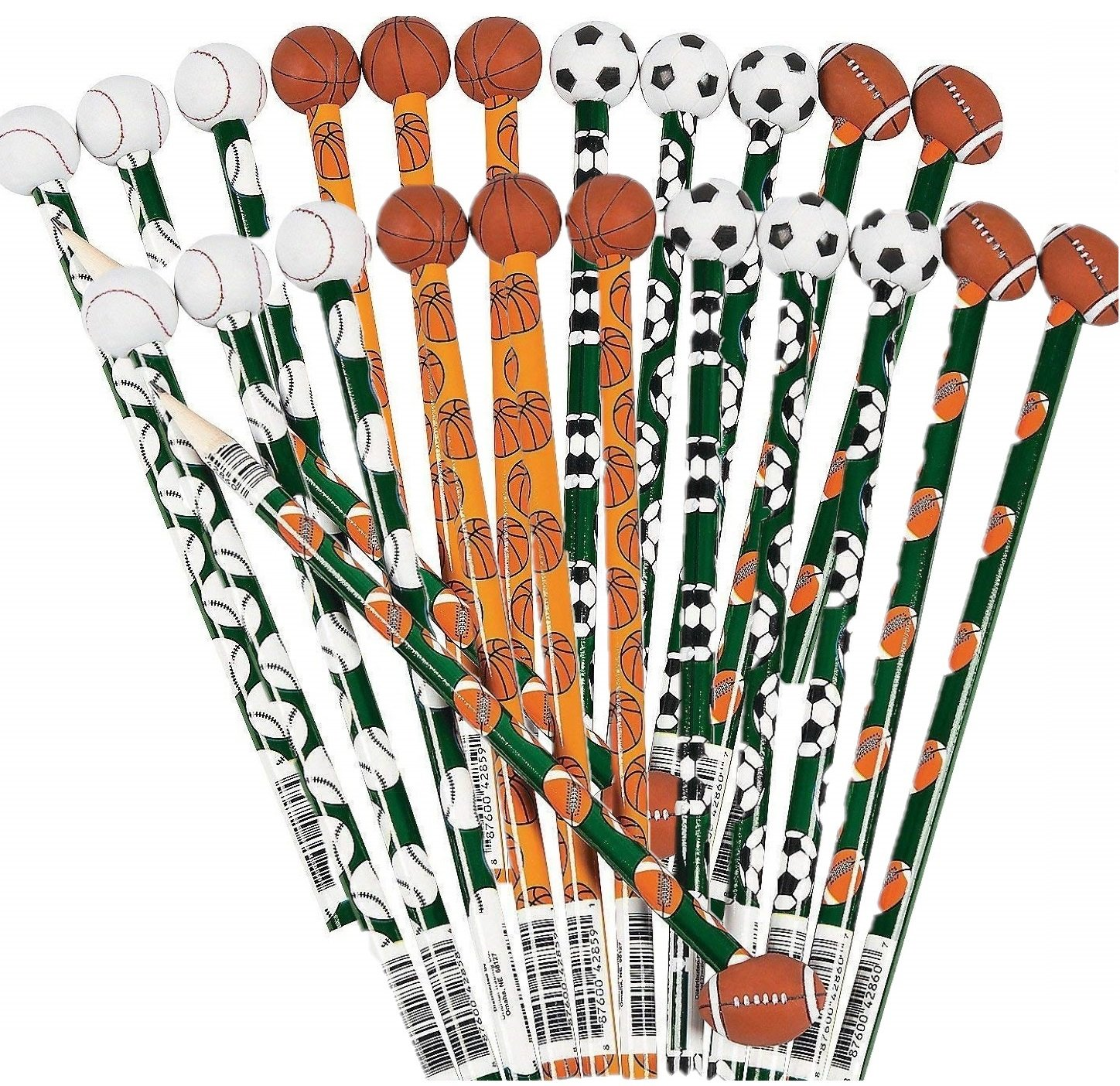 Fun Express Wooden Sports Pencils with Ball Eraser (24 Pack) by Fun Express