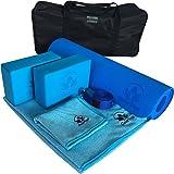 Clever Yoga Set Kit 7-Piece 1 Yoga Mat, Yoga Mat Towel, 2 Yoga Blocks, Yoga Strap, Yoga Hand Towel, Free Carry Case for…
