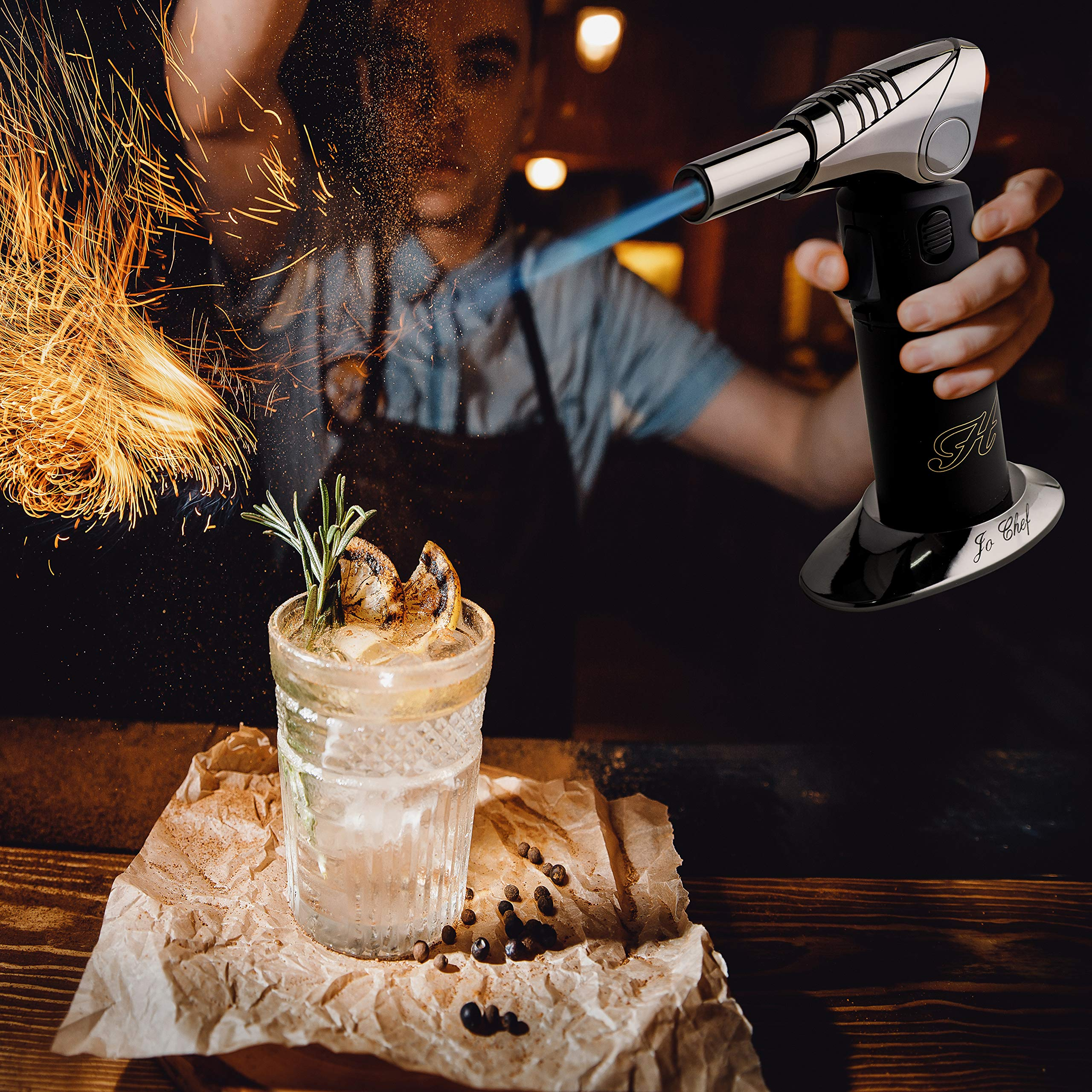 PREMIUM Crème Brûlée Torch - The Ultimate Kitchen Food Torch - Windproof, Use at Any Angle, Safety Switch, Ergonomic Matte Black Grip - Culinary Butane Blow Torch 2,700°F - by Jo Chef by Jo Chef (Image #6)