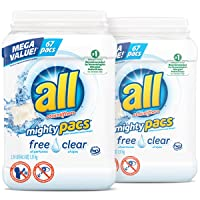 Deals on 2 Pk All Mighty Pacs Laundry Detergent, Free Clear, 67 Count