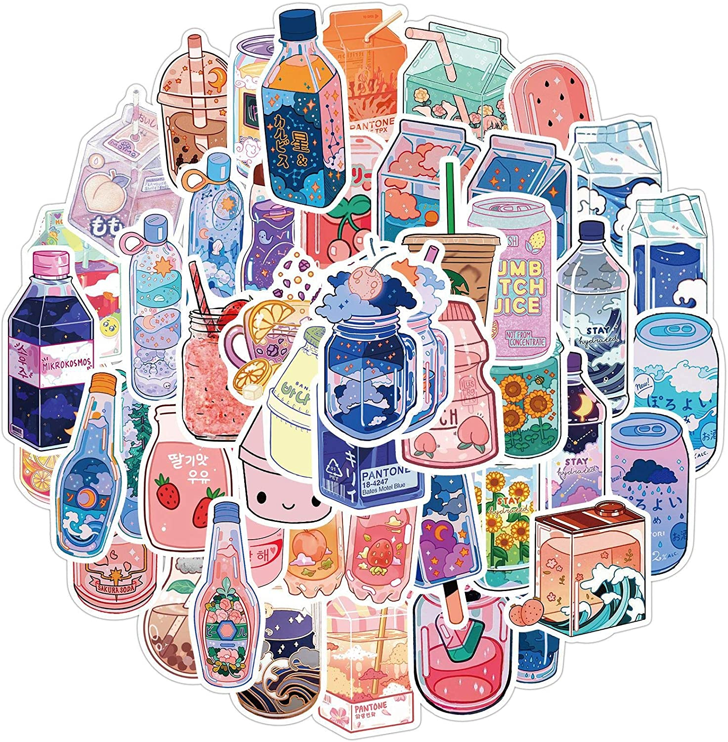 Fashionable Cartoon Beverage Bottle Stickers Pack 50Pcs Colorful Waterproof Cute Stickers for Flask, Laptop, Water Bottle, Cute Aesthetic Vinyl Doodle Decals (Sweet Drinks)