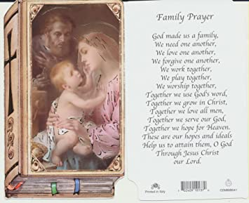 Amazon Com Holy Family Prayer Card Bible Shaped Chromo Nb Mary