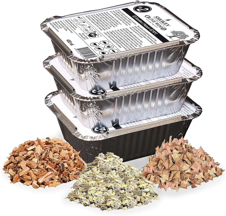 Smokey Olive Wood 3x400ml, virutas de Madera de Olivo, Naranjo y Almendro para Barbacoa & ahumar, Talla 5mm - 1cm, Listo para su fácil Uso, en Bandeja de Aluminio