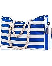 Beach Bag XXL. 100% Waterproof. L22 xH15 xW6 (56x38x15cm) w Rope Handles, Top Magnet Clasp, Outside Pockets. Dark Blue Stripes Shoulder Beach Tote Has Phone Case, Built-in Key Holder, Bottle Opener