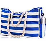 Beach Bag XXL. 100% Waterproof. L22 xH15 xW6 (56x38x15cm) w Rope Handles, Top Magnet Clasp, Outside Pockets. Dark Blue Stripes Shoulder Beach Tote Has Phone Case, Built-in Key Holder, Bottle Opener