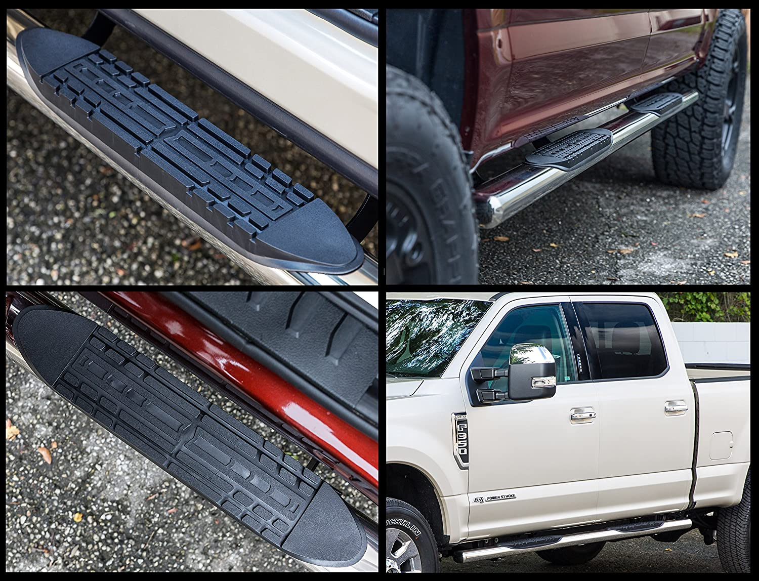 3341200 2007-2018 Toyota Tundra Double Cab Only Nerf Bars Truck Side Steps Ionic Pro Series 3 Stainless fits