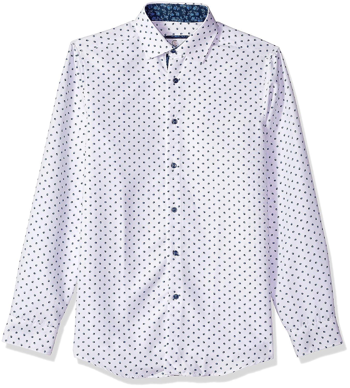 Azaro Uomo Mens Printed Dress Shirt Casual Button Down Slim Fit Gents Long