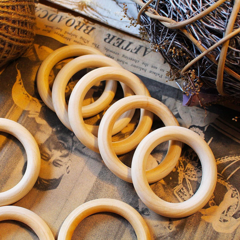 Schmuckherstellung 50 St/ück - 70mm Nat/ürliche Holz Ringe mit Innendurchmesser 50mm f/ürs Basteln Dekoration Kunst und Bastelprojekte BELLE VOUS Holzringe Vorhangringe