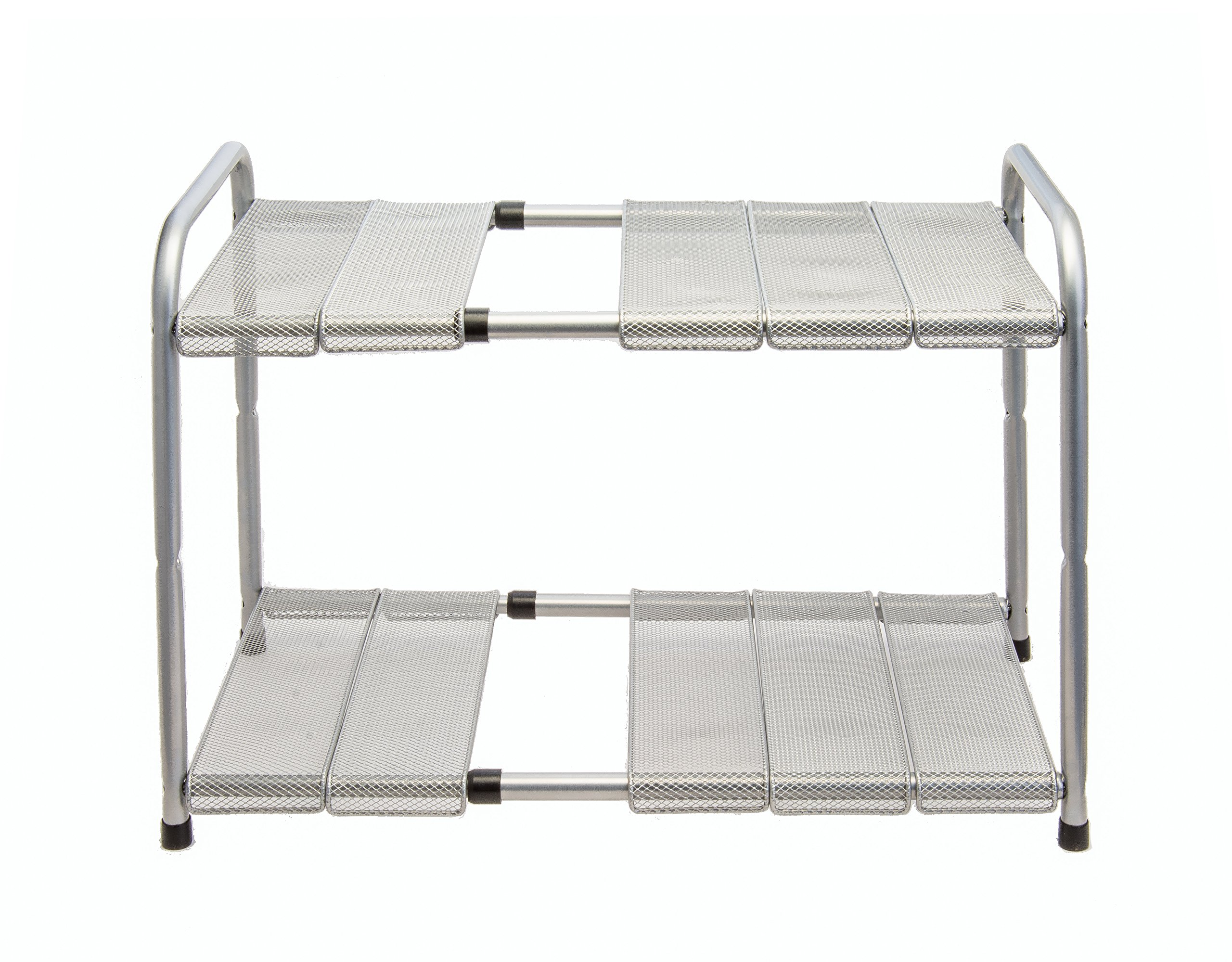 Venoly Expandable Under Sink Organizer - 2 Tier Storage Rack With Movable and Customizeable Shelves to Make Space for Pipes - Carbon Steel - By