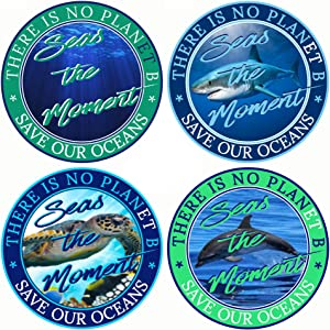 Save The Oceans & Sea Life Stickers 4-Pack (Ocean Turtle Dolphin & Shark 4 Pk) Vinyl Decal Set | Stop Climate Change Democrats Vote Joe Biden Kamala Harris Vice-President Better Than Magnet 3 x 3""