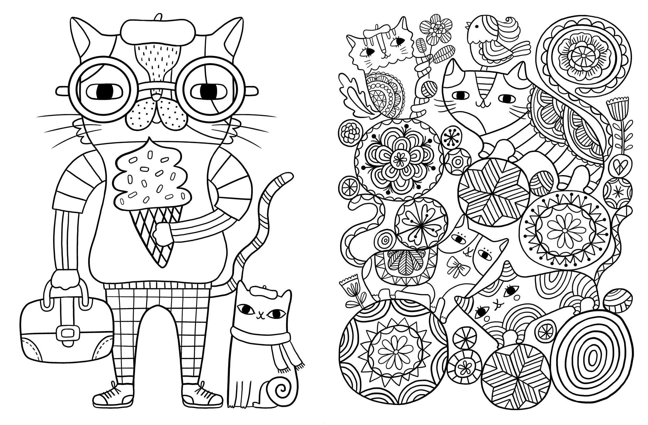 Posh Adult Coloring Book Cats Kittens For Comfort Creativity Amazonca Flora Chang Books