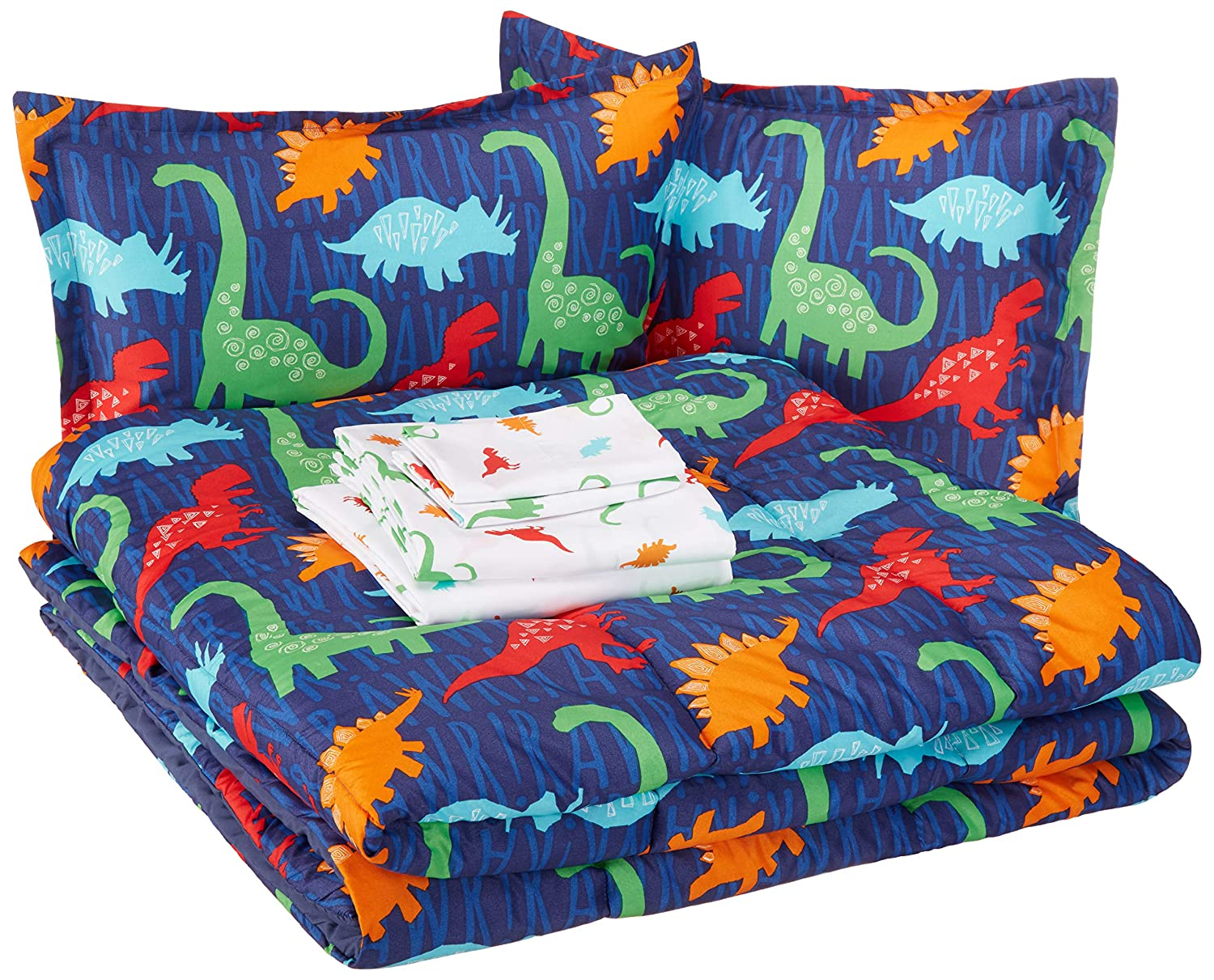 AmazonBasics Kid's Bed-in-a-Bag - Soft, Easy-Wash Microfiber - Full/Queen, Multi-Color Dinosaurs