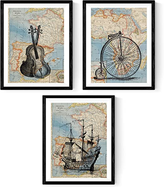 Nacnic Pack de 3 láminas para enmarcar MAPAS Vintage. Compuesto ...