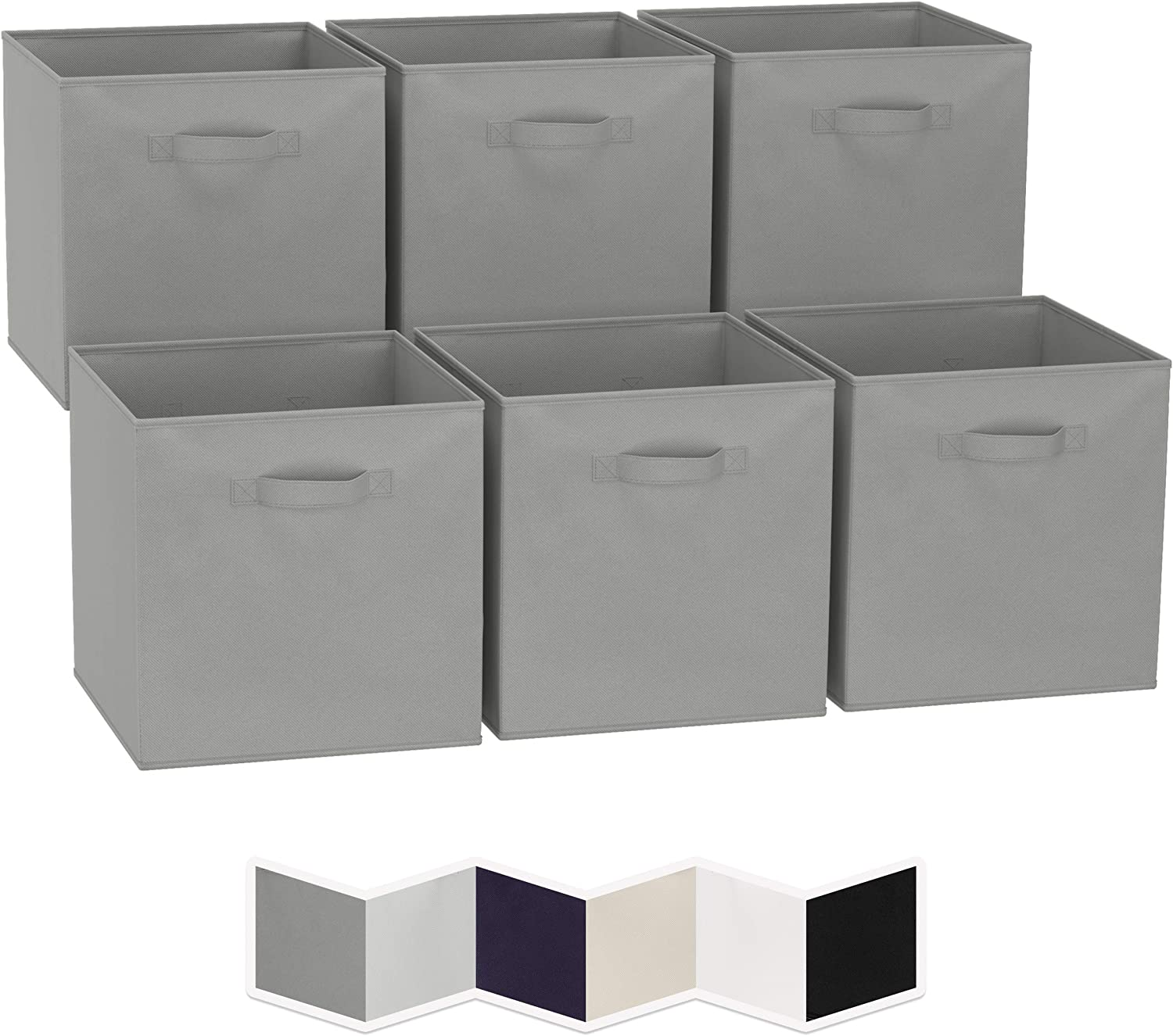 13x13 Large Storage Cubes (Set of 6). Fabric Storage Bins with Dual Handles   Cube Storage Bins for Home and Office   Foldable Cube Baskets For Shelf   Closet Organizers and Storage Box (Grey)