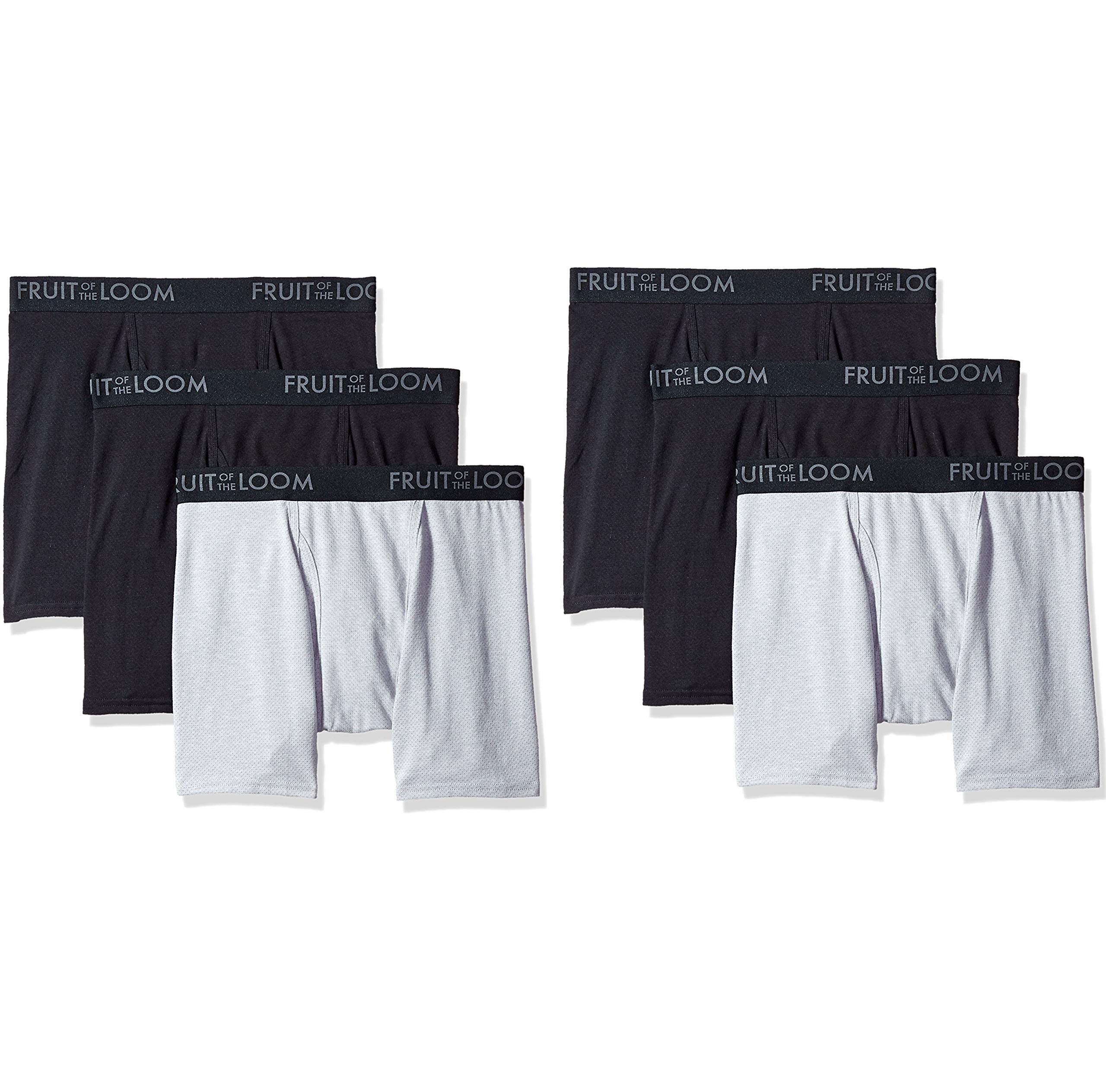 Fruit of the Loom Men's Breathable Boxer Brief Multipack, Black/Gray, XX-Large