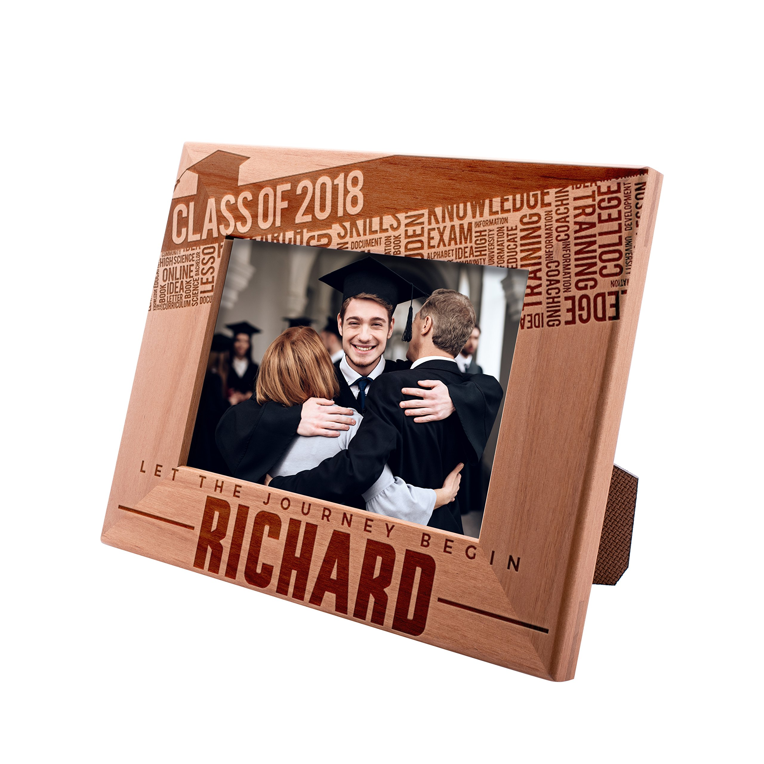 Personalized Engraved Graduation Picture Frame 4x6 - Let The Journey Begin - Class of 2019 - Gift For High School or College Graduate Gift