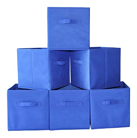 Fabric Cube Storage Bins, Foldable (Set Of 6   Blue) Premium Quality  Collapsible