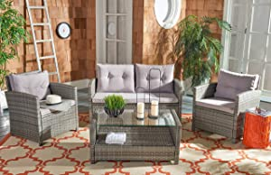 Safavieh PAT7516B Collection Vellor Grey 4-Piece Outdoor Living Patio Set