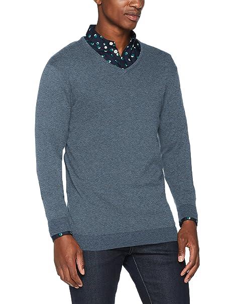 Shdtower Cot/Silk V-Neck Noos, Suéter para Hombre, Negro (Black), Medium Selected